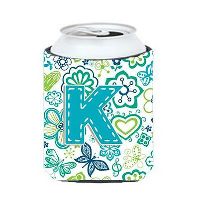 Letter K Flowers And Butterflies Teal Blue Can & Bottle Hugger