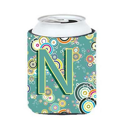 Letter N Circle Circle Teal Initial Alphabet Can & Bottle Hugger