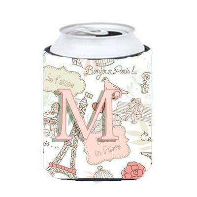 Carolines Treasures CJ2002-MCC Letter M Love In Paris Pink Can & Bottle Hugger