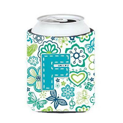 Letter F Flowers And Butterflies Teal Blue Can & Bottle Hugger