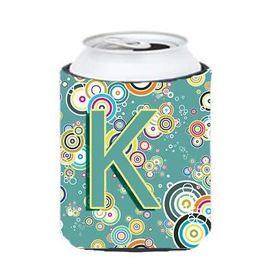 Letter K Circle Circle Teal Initial Alphabet Can & Bottle Hugger
