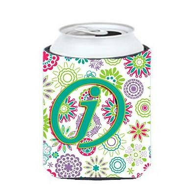 Carolines Treasures Letter J Flowers Pink Teal Green Initial Can & Bottle Hugger