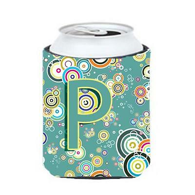 Letter P Circle Circle Teal Initial Alphabet Can & Bottle Hugger