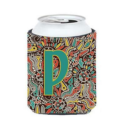 Carolines Treasures Letter P Retro Tribal Alphabet Initial Can & Bottle Hugger