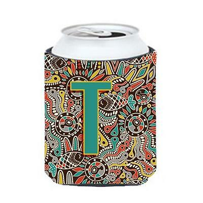 Carolines Treasures Letter T Retro Tribal Alphabet Initial Can & Bottle Hugger