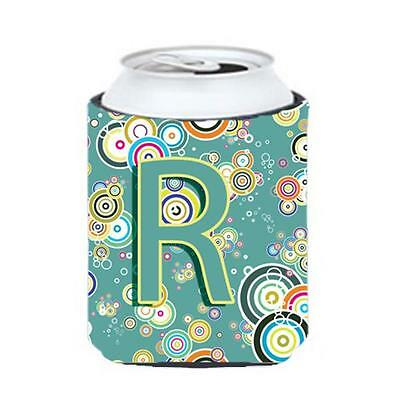 Letter R Circle Circle Teal Initial Alphabet Can & Bottle Hugger