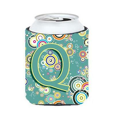 Letter Q Circle Circle Teal Initial Alphabet Can & Bottle Hugger