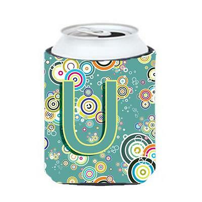 Letter U Circle Circle Teal Initial Alphabet Can & Bottle Hugger