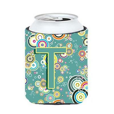 Letter T Circle Circle Teal Initial Alphabet Can & Bottle Hugger