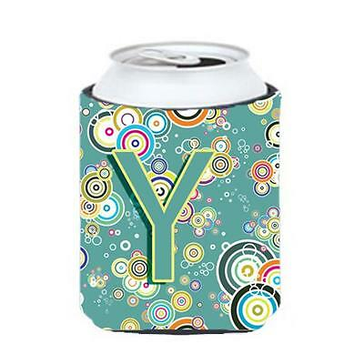 Letter Y Circle Circle Teal Initial Alphabet Can & Bottle Hugger