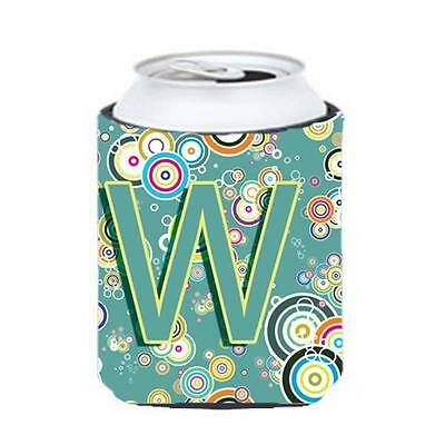 Letter W Circle Circle Teal Initial Alphabet Can & Bottle Hugger