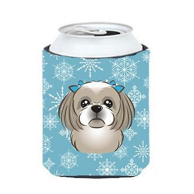 Carolines Treasures BB1684CC Snowflake Gray Silver Shih Tzu Can & Bottle Hugger