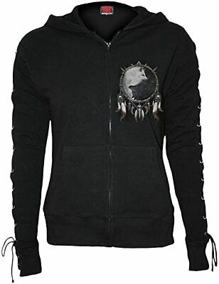 Spiral Direct WOLF CHI Full Zip Lace-up Glitter Hood/Wolves/Goth/Yin-yang design