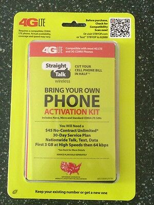 STRAIGHT TALK VERIZON Cdma Byop Activation Kit Code & Sim Cards + Free Sim  Tool