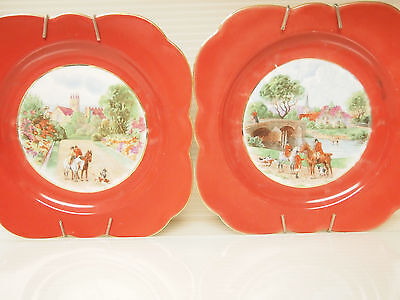 VTG TWO PLATES EQUESTRIAN RIDING by CROWN VICTORIA CZECHOSLOVAKIA (1919-1945s)