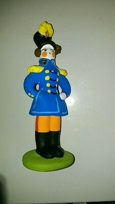 Russian Painted Soldier Folk Authentic Vintage Handmade Dymkovo Clay Figurine