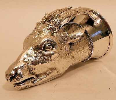 A Cape sterling silver antelope-head stirrup cup, Boer War interest, c.1900.