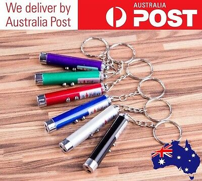Laser Pointer Keyring - 2 In 1 Led Torch - Batteries Included - Various Colours