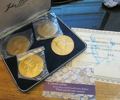 The Churchill Medals 4 Gold / Sterling Silver medals 1974 by John Pinches Cert