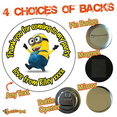 Personalised Minion Birthday Party Big Badges Magnet Mirror Opener 061