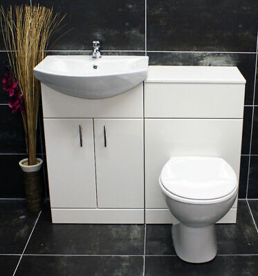 1050mm Bathroom Furniture Suite Vanity Unit Cabinet Toilet Basin Back To Wall