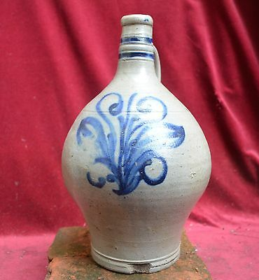 Nice large jug with a flower decor, German stoneware 18th. century.