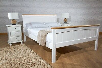 3ft, 4ft6, 5ft Bed Frame in White with Pine, White and Caramel Mattress Option