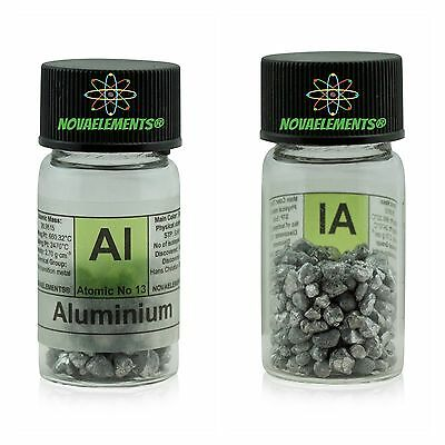 Aluminum metal element 13 99.9% pure shiny pellets in labeled glass vial
