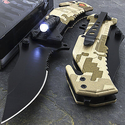 "8.25"" MARINE SPRING ASSISTED TACTICAL FOLDING KNIFE Blade Assist Pocket Open"