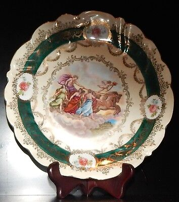 antique Royal Vienna Porcelain plate green and gold with antique scenery vintage