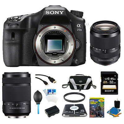Sony a77II 24.3MP HD 1080p DSLR Camera (Body) w/ 18-135mm & 55-300mm Lens Kit