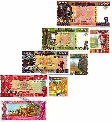 Guinea 4 Note Set 50 100 500 1000 Francs Unc