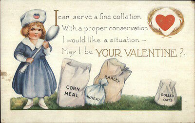 Valentine - Little Girl I CAN SERVE A FINE COLLATION c1915 Postcard