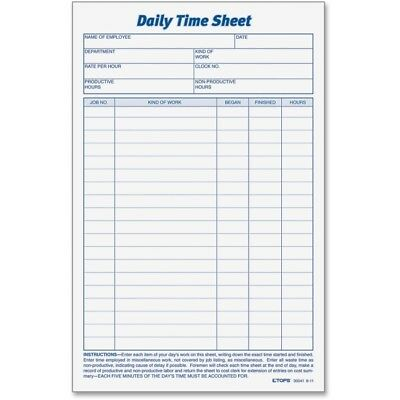 tops daily attendance record 8 5 x 11 inch 50 loose forms per pack