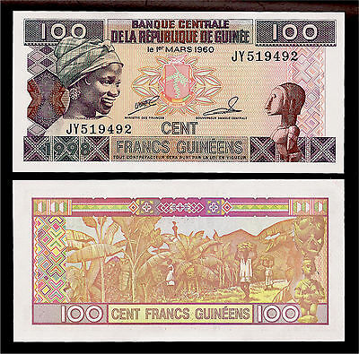 World Paper Money - Guinea 100 Francs 1998 P35a @ Crisp UNC