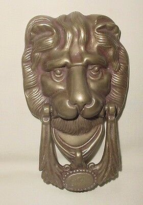 Old Brass Bronze Lion Head Sculpture Mask Animal Figure Door Knocker 6.50""