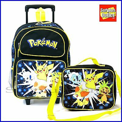 "Pokemon Backpack 16"" Large School Rolling Backpack Lunch Bag  2pc Set"