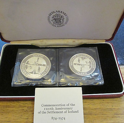 1974 ICELAND 1100th Anniversary SILVER PROOF Kronur 2 Coin Set by Royal Mint