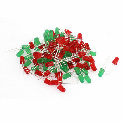 100pcs 5mm Head Red Green Ultra-Bright Emitting Diodes LED Light Lamps