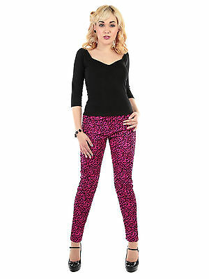 Collectif Vintage Maddie Leopard Flock Trousers