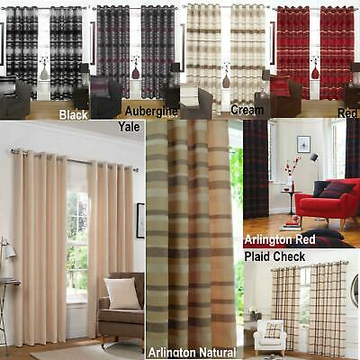 Eyelet Ring Top Curtains Fully Lined Ready Made Heavy Weight Striped