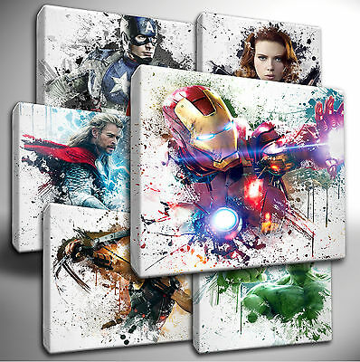 Choose your Marvel AVENGERS paint splatter CANVAS Wall Art Picture Prints