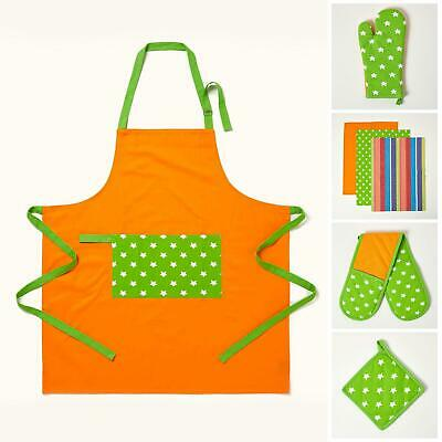 Cotton Lime Green Orange Stars Kitchen Double Oven Gloves Apron Towel Pot Holder