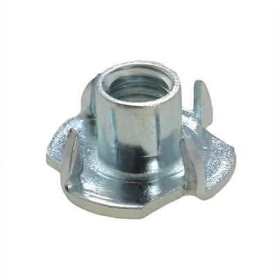 Qty 50 Tee Nut M6 (6mm) Zinc Plated 4 Prong T Nut Blind Timber Wood
