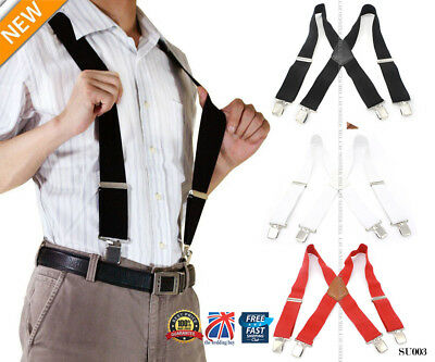 UK Mens Ladies 50mm Wide Braces Plain Heavy Duty Suspender Elastic Black SU003