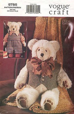 """VOGUE Teddy Bear and Clothing Pattern 9785 Size 23"""" UNCUT"""