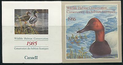 Canada B.o.b. Federal Wildlife Habitat Conservation #Fwh1, Fwh2 Mint Duck Stamp