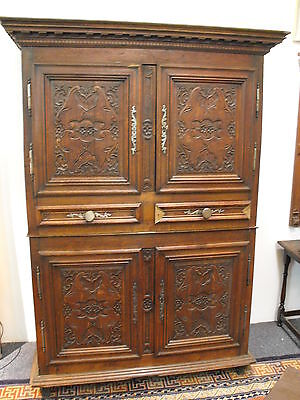 Antique French Oak Linen Press Cabinet Armoire