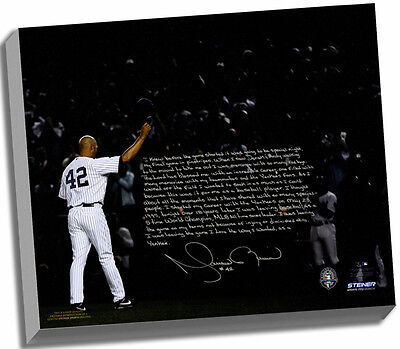 Mariano Rivera Facsimile Last Game in Pinstripes Story Stretched 16x20 Canvas