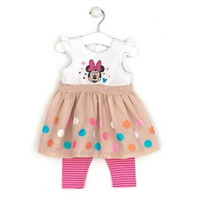 New Disney Store Baby Girl Minnie Mouse Dress & Leggings Set Age 3 6 9 12 Months
